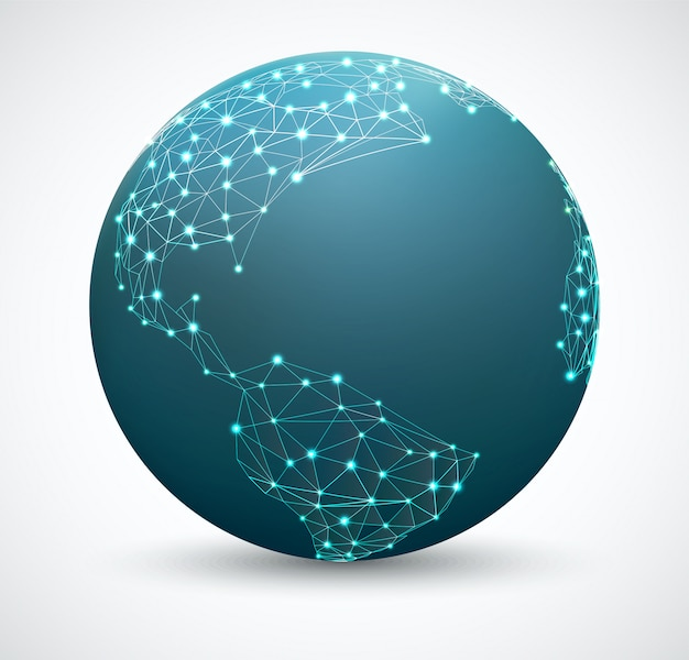 ポイント、ネットワーク接続、ネットワークグローブを含む多角形の世界地図