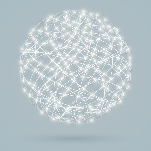 Глобальные цифровые соединения со светящимися огнями, сеть