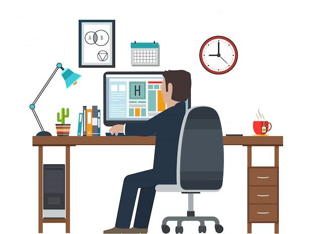 Дизайнер на рабочем месте, рабочая станция. креативное оборудование в офисном интерьере.