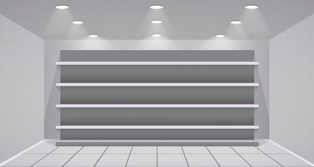 Интерьер магазина с пустыми полками