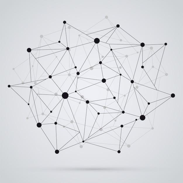 幾何学的な多角形構造メッシュブラックカラー、明るい背景にテクノロジーオブジェクト