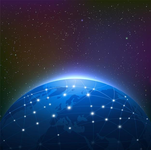 Земля ночью среди звездного неба окружена светящейся сетью