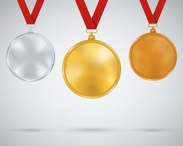 Комплект медалей, золото, серебро, бронза