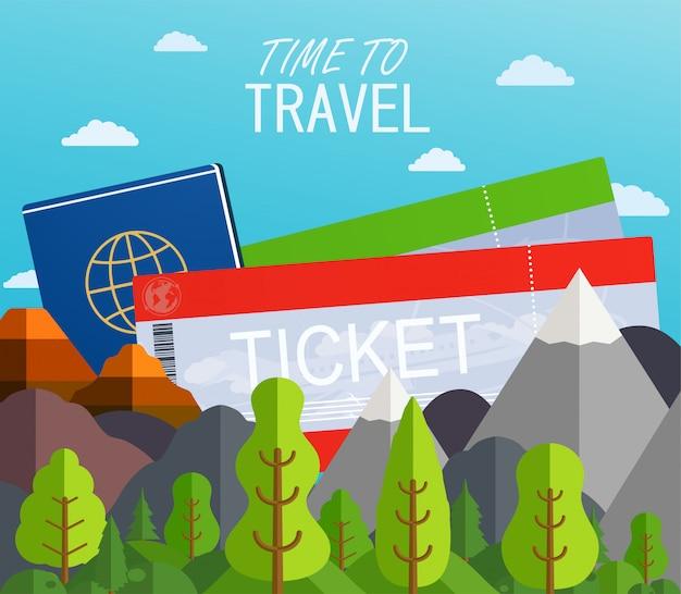 パスポート付きの飛行機のチケット。旅行の概念の背景。山と木との夏の背景。バナー旅行目的地。
