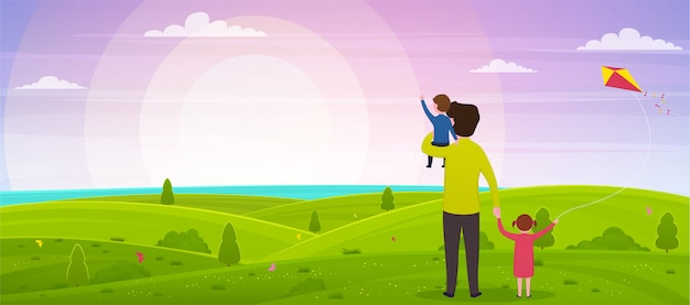 父の日おめでとう。息子を手に持つお父さんと娘が夕日を見ている