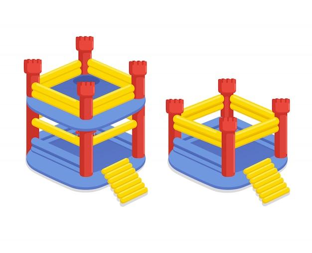 トランポリンが付いている膨脹可能な子供の城。インフレータブルプラットフォームのゲーム用に設定します。ゲーム夏用装備。