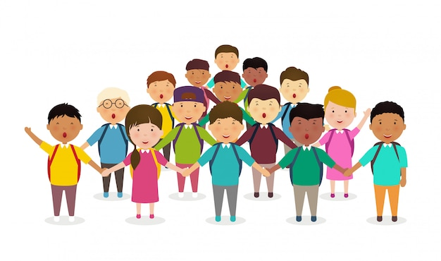 生徒と子供たちは手を繋いでいます。小学生の子供たちのグループが並んでいます。白い背景の生徒の幸せな群衆。