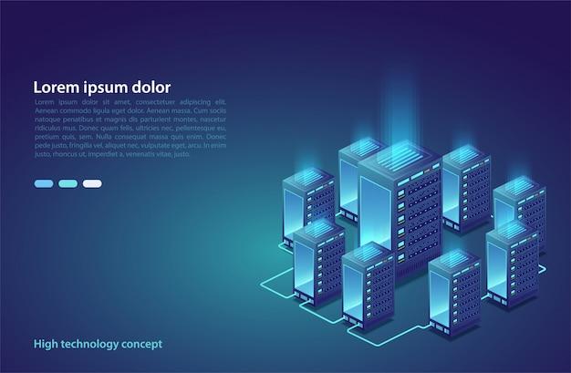 データセンター。クラウドストレージ、データ転送の概念。データ伝送技術。