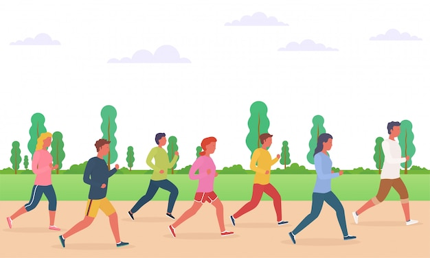 実行している人々のグループ。男性と女性、マラソン、ジョギングの実行の概念。