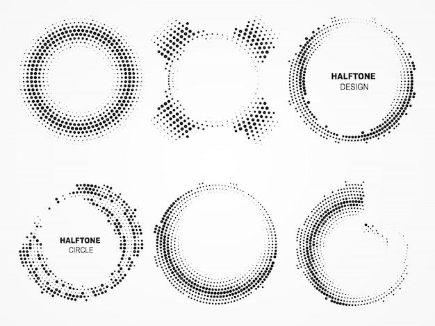 ハーフトーン円形フレーム。ドットと技術界。