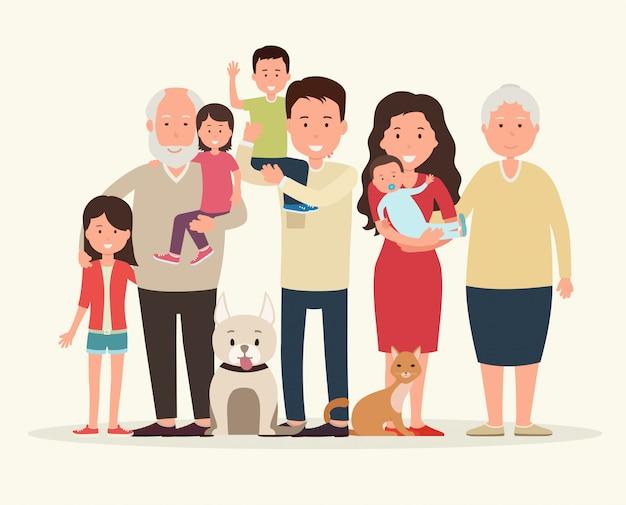 一緒に大家族。両親と子供たち。