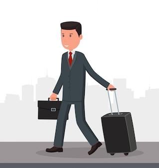Бизнесмен с багажом идет в аэропорт.