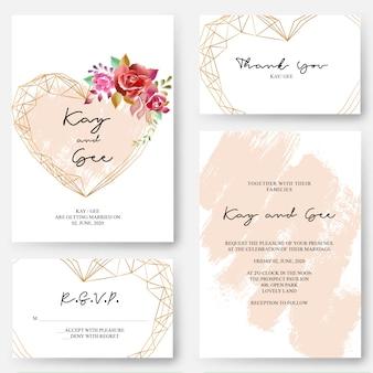 結婚式招待状の花のデザインテンプレート