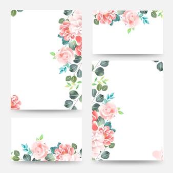カラフルな春の花の花束。結婚式結婚イベント招待状カードのテンプレート。