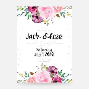 クラシックなデザインの美しい花のウェディングカードデザイン