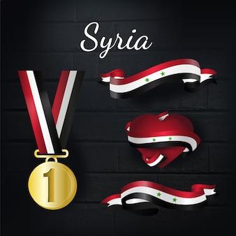 Коллекция золотой медали и лент в сирии