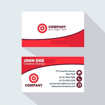 Красно-белая визитная карточка