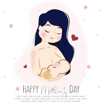 幸せな母の日の赤ちゃんキャラクター