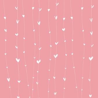 ライン上の白いハートとピンクの背景