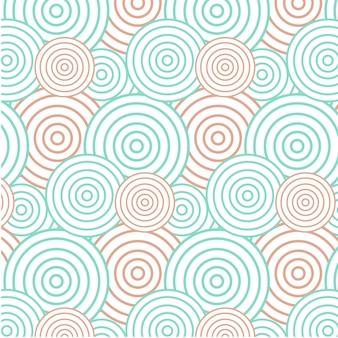 抽象的な緑とオレンジ色の円の背景 - シームレスなパターン