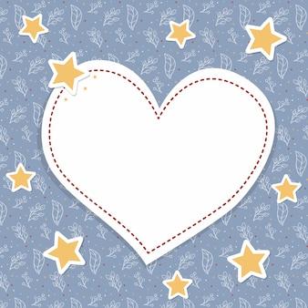 Красивая синяя сердечная рамка на рождество