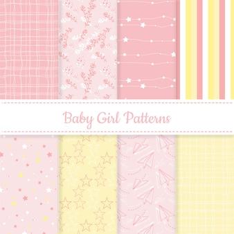 女の赤ちゃんのピンクと黄色の編集可能なパターンのセット