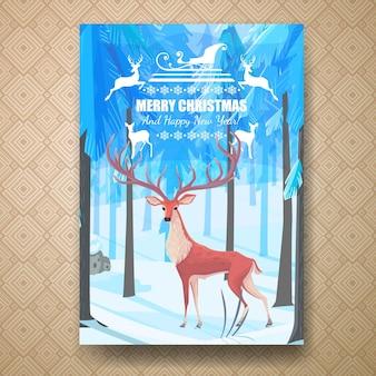 Шаблон рождественского флаера с оленем в лесу