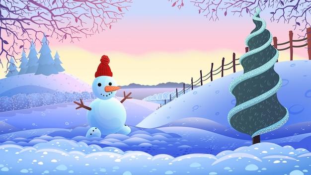 Зимний праздник пейзаж. векторные иллюстрации.