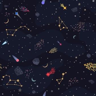 Бесшовные ночное небо фоном