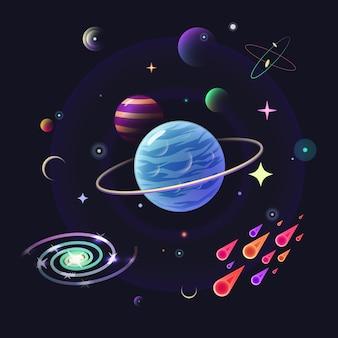 光沢のある惑星と空間のベクトルの背景