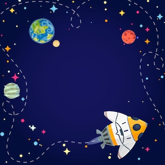 Путешествия мультяшный космический корабль.