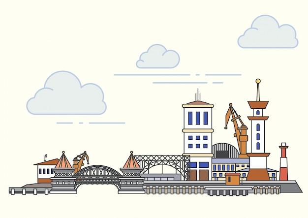 港と街の景色