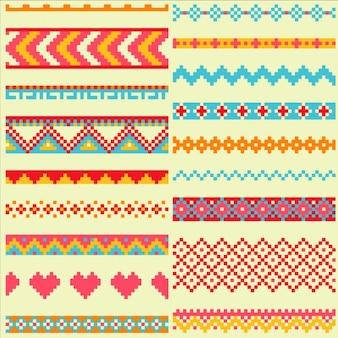 Коллекция ярких пикселей кистей в племенном стиле