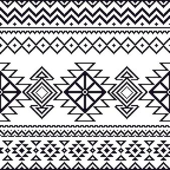 アズテックパターン、黒と白