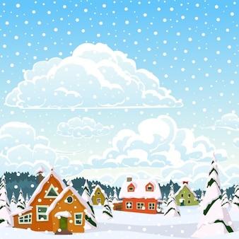 雪に覆われた村、冬の風景