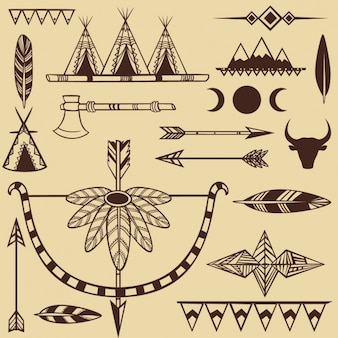 アメリカインディアンオブジェクトのセット