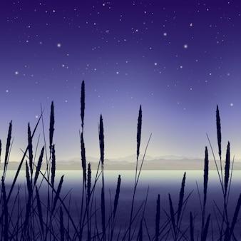 Звёздная ночь пейзаж с камышом