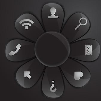 ブラック円形ボタン