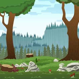 正方形の森林景観ベクトル漫画イラスト