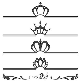 冠を持つヴィンテージテキストヘッダのコレクション