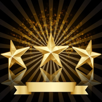 Золотая звезда фон награда вектор