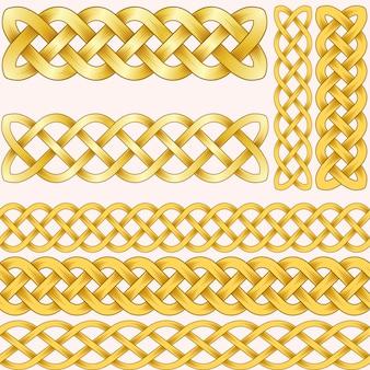 ブラシのためのシームレスなパターンで設定ケルトの三つ編み