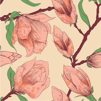 モクレンの花を持つヴィンテージのシームレスなパターン