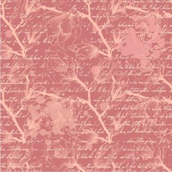 モクレンの花を持つヴィンテージピンクのシームレスなパターン