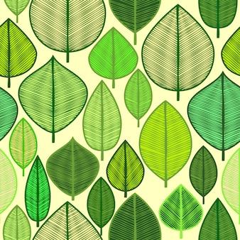 落書きの葉を持つベクトルのシームレスなパターン