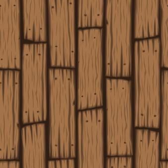 ベクトル、木製ブロックのシームレスなパターンの漫画木製のテクスチャ