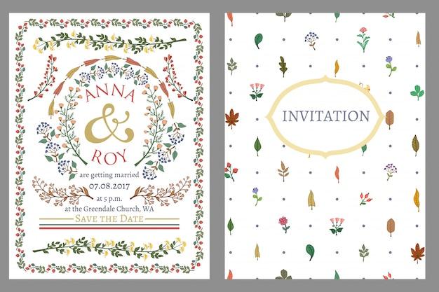 Приглашение на свадьбу, украшенное разноцветными травами и цветами
