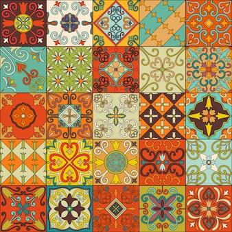 タラベラスタイルのポルトガルのタイルでシームレスなパターン。