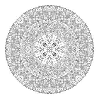 Черно-белая мандала для раскраски.