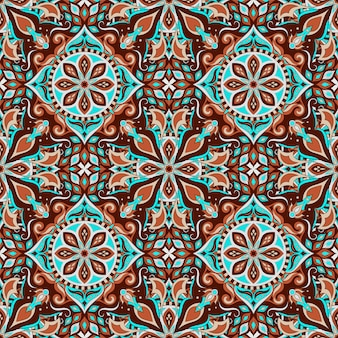 ビンテージマンダラと華やかな花のシームレスパターン